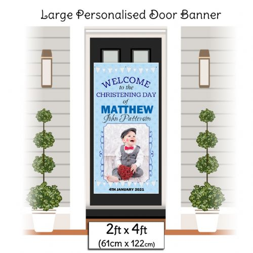 Personalised Boys Christening Baptism Door PHOTO Poster Banner ~ N22
